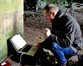 Field recording in Court Cave Wemyss Bay